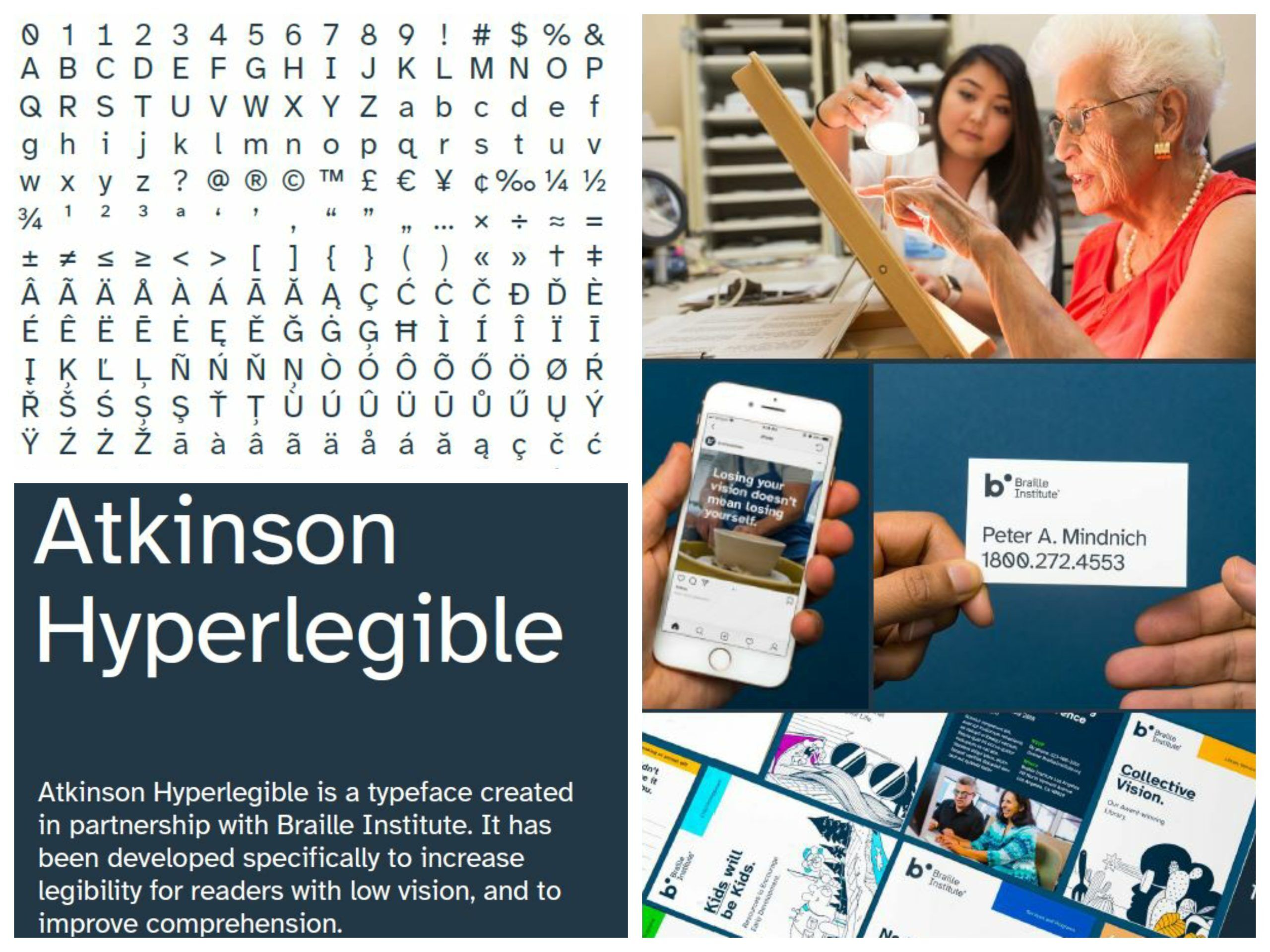 Foto Collage für den Beitrag Barrierefreie Schriftart Atkinson Hyperlegible