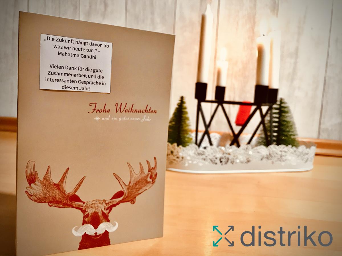 Foto mit Grußkarte Frohe Weihnachten 2020 wünscht distriko