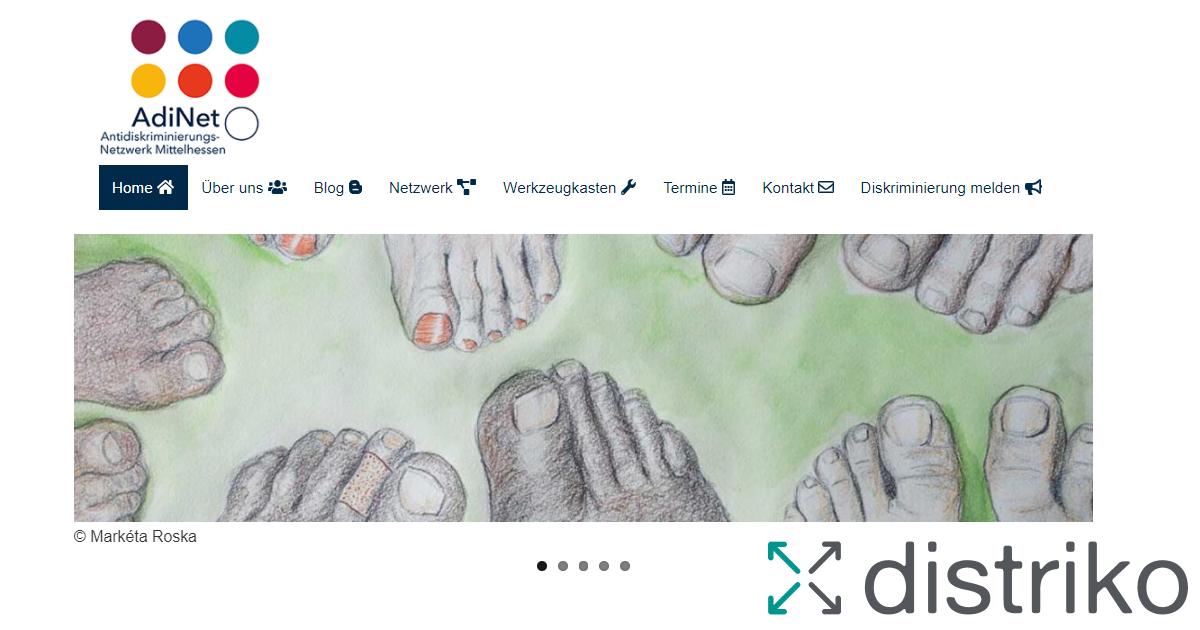 AdiNet Website Screenshot mit distriko Logo
