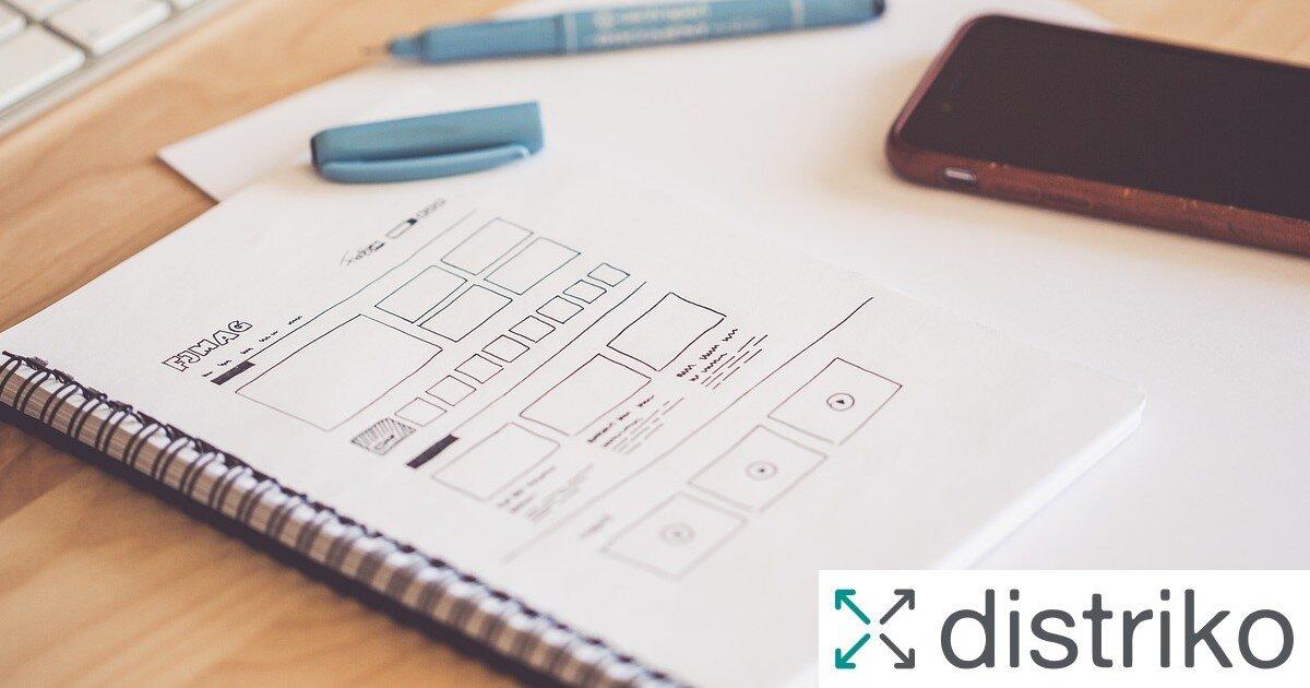 Gestaltung von einem Dokument mit distriko Logo