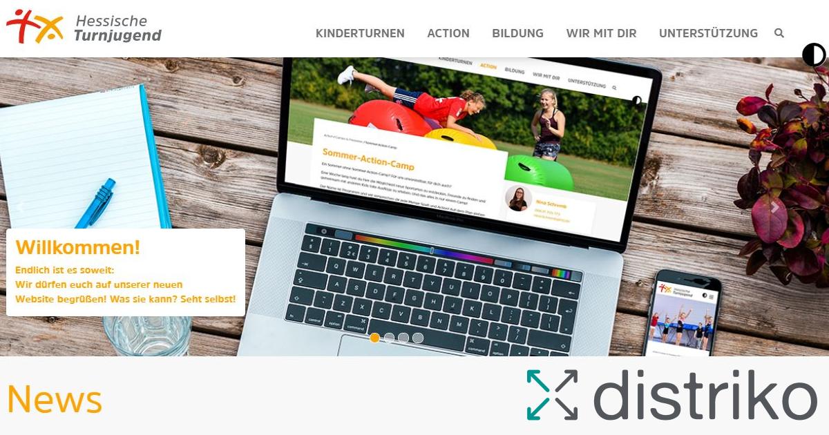 Screenshot von der Website HTJ.de mit distriko Logo