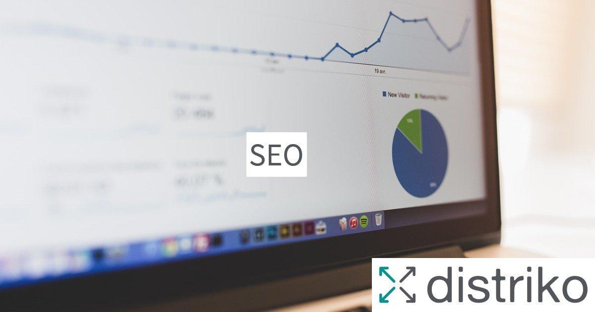 Bildschirm mit Programm zur Suchmaschinen-Optimierung SEO und das distriko Logo